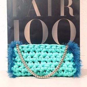 Handbags - Chic Turquoise Clutch With Rhinestone Metal Strap